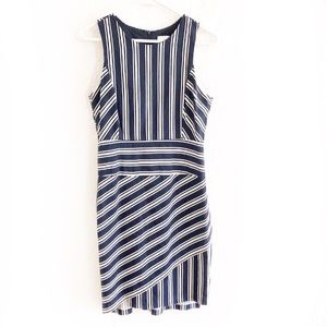Anthro Maeve Sleeveless Sheath Dress Navy Striped